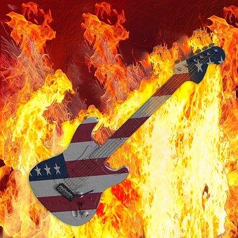Guitar, Flare-up, Heat, Burn, Flammable, Hot, Usa, Fire