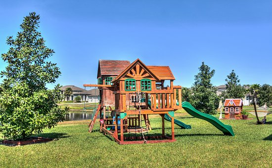 Playground, Treehouse, Florida, Landscape, House, Grass