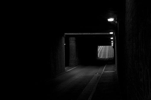 Tunnel, Dark, Light, Monochrome, Shadow, Street
