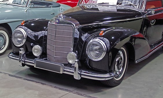 Auto, Mercedes, Oldtimer, Chrome, Grille, Spotlight