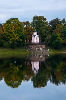 Water, River, Tree, No One, Chapel, Dome, Great, Pskov