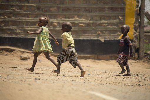 Kids, African, Kenyan, Playing, Outside, Outdoors