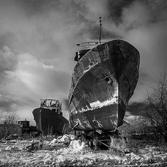 Ship, Outdoors, Devastation, Industrial, No One