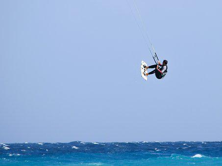 Kitesurfing, Skill, Air, Flying, Action, Sky, Jump