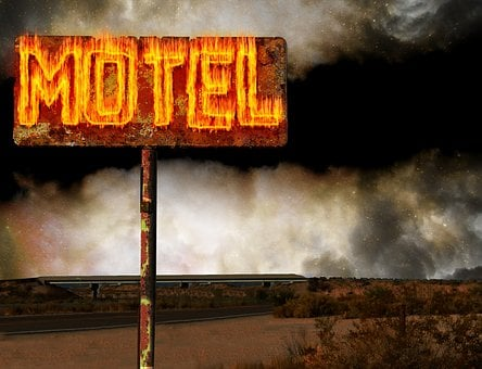Motel, Flames, Sign, Desert, Ominous, Spooky, Night