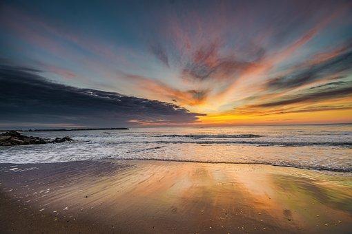 Sunset, Water, Dusk, Sun, Sky, Dawn, Evening, Sea