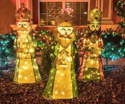 Three Wise Men, Christmas, Holiday, Illuminated, Night