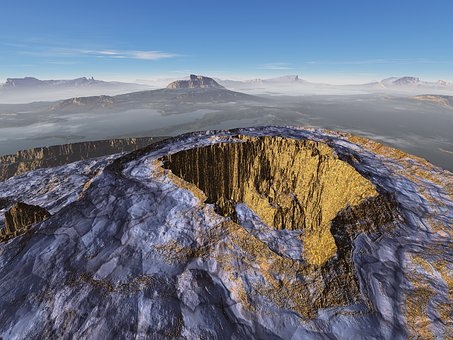 Crater, Volcano, Panoramic, Landscape, Outdoors, Nature