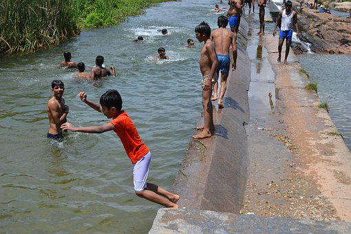 Water, People, Travel, Man, Kids, Mysuru, Balmuri