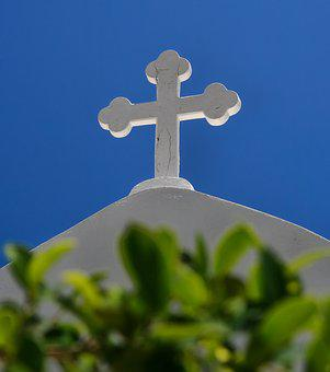 Cross, Religion, Church, Chapel, Greece, Blue, White