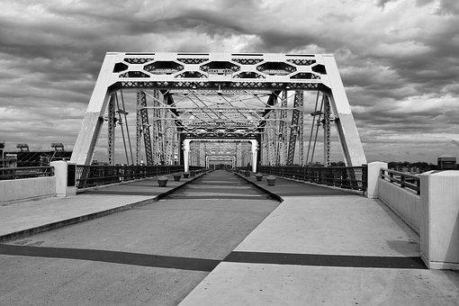 Monochrome, Bridge, Panoramic, City, Road, Water, Urban