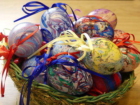 Osterkorb, Colorful Eggs, Color, Easter