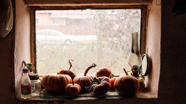 Lamp, Window, Old, Room, Dark, Pumpkin, Vintage