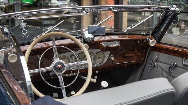 Auto, Mercedes, Dashboard, Oldtimer, Steering Wheel
