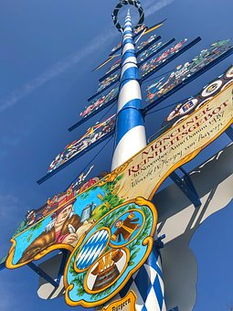 Maypole, Sun, Blue Sky, Munich, Viktualienmarkt