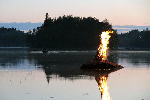 Lake, Water, Reflection, Safe, Fire, Nature, Outdoors