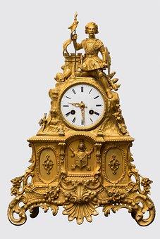 Clock, Antique, Golden, Old, Art, Retro, Ornament