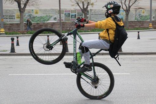 Wheel, Bike, Cyclist, Road, Seated, Street, Hurry