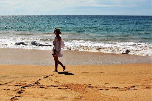 Beach, Sand, Sea, Girl, Spacer, Hat, Wind, The Silence