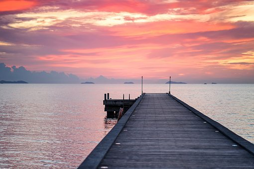 Wooden, Pier, Sea, Seascape, Sunset, Sun, Ocean