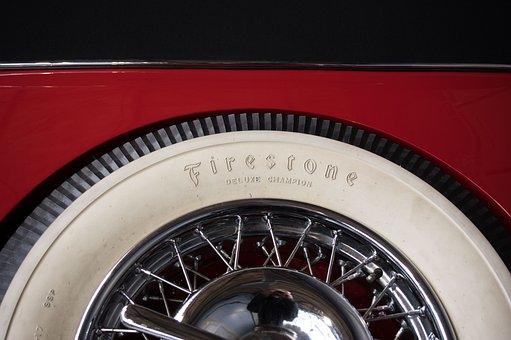 Mature, Whitewall Tires, Oldtimer, Spokes, Spoke Wheel