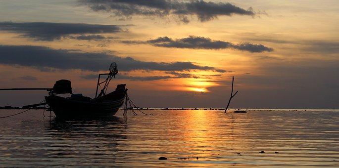 Water, Sunset, Dawn, Boat, Sea, Ocean, Sun, Evening