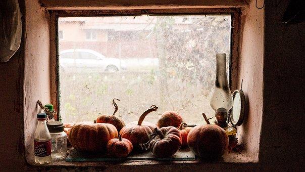 Lamp, Window, Old, Room, Dark, Pumpkin, Vintage