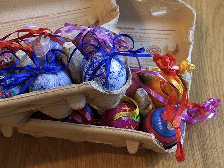 Egg Carton, Egg, Close, Colorful, Colored Eggs, Easter