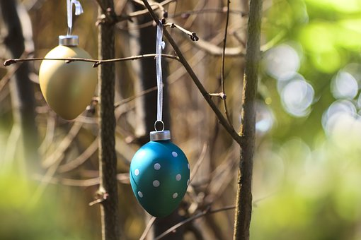 Easter, Glass Eggs, Gold, Turquoise, Points, Nature