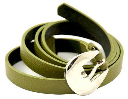 Waist Belt For Women, Green, Genuine Leather