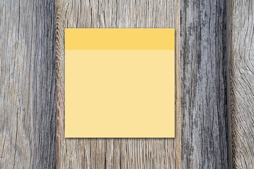 Post It, Yellow, Wood, Woods, Blank, Board