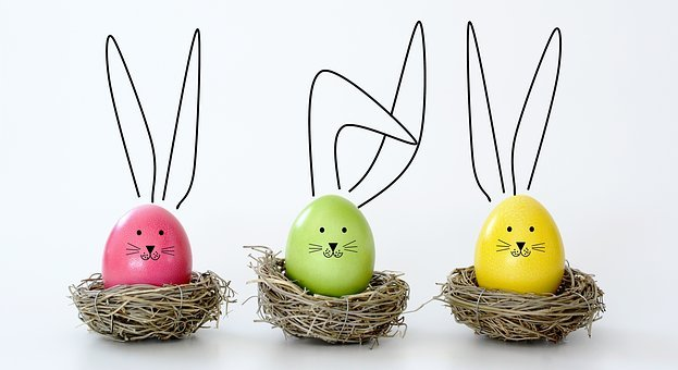 Easter, Eggs, Rabbit, Nest, Funny, Ears, Colorful