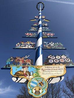 Maypole, Sky, Munich, Viktualienmarkt, Tradition
