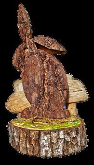Easter Decoration, Easter, Hare, Bark, Carved