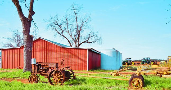 Farm, Agriculture, Rural, Barn, Summer, Tractor
