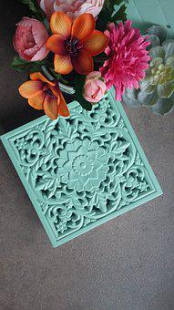 Flower, Floral, Box Set, Treasure, Box, Mint, Carved