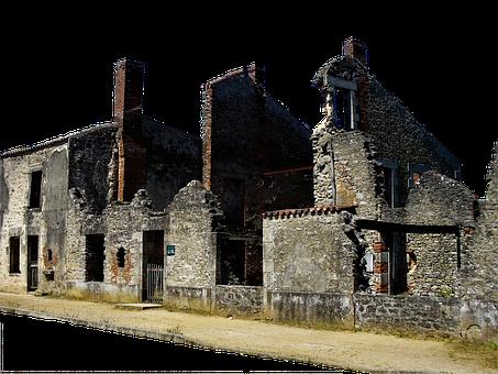 Building, France, Oradoure, Ruin, Village, Heritage