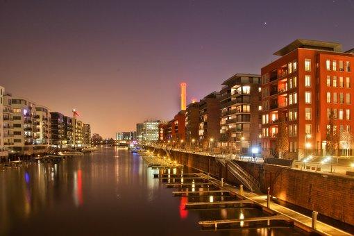 Frankfurth Am Main, Musikmesse, Night, City, Urban