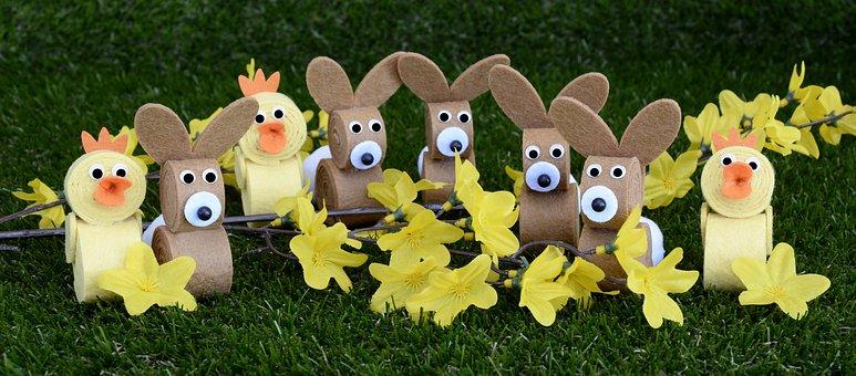Easter, Easter Bunny, Chicks, Tinker, Homemade