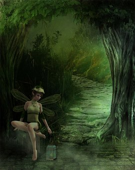 Fairy, Forest, Tree, Wings, Light, Fantastic, Path