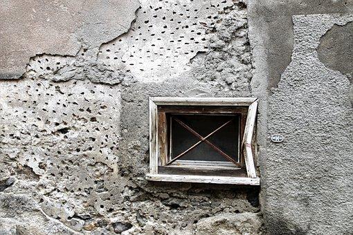 Window Sill, Plaster, Gray, Lake Dusia, Old, Window