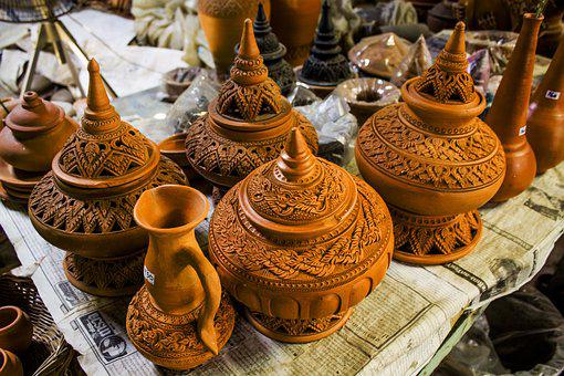 Traditional, Food, Market, Decoration, Pottery