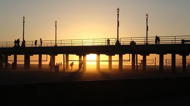 Beach, Sunset, Ocean, Huntington Beach, Dusk, Pier
