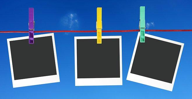 Polaroid, Suspended, Clothes Peg, Blank, Nylon Cord
