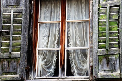 Destroyed, Window, House, Wooden, Rustic, Window Sill