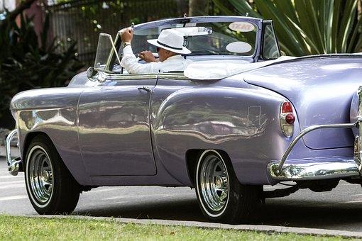 Cuba, Havana, Vedado, Almendron, Chevy, Purple, Taxi