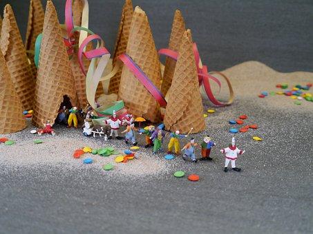 Clown, Clowns, Ice Cream Cone, Confetti, Funny, Small