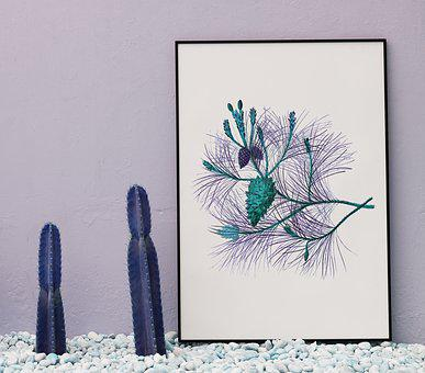 Nature, Blank, Board, Cactus, Copy Space, Decor