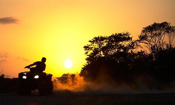 Quad, Drifting, Dust, Sunset, Dusk, Motor Sport, Sport
