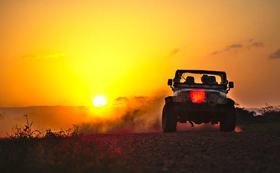 Jeep, Drifting, Dust, Sunset, Dusk, Motor Sport, Sport